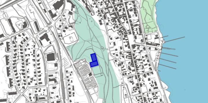 Koirapuiston sijaintikartta Loviisan Myllyharjulla. 2021. Hundparken på Kvarnåsen i Lovisa. Karta.